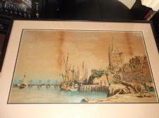 "OLD FRAMED ORIGINAL OIL PAINTING UNDER GLASS SHIPS IN HARBOUR 24"" X 17"" FRENCH ?"